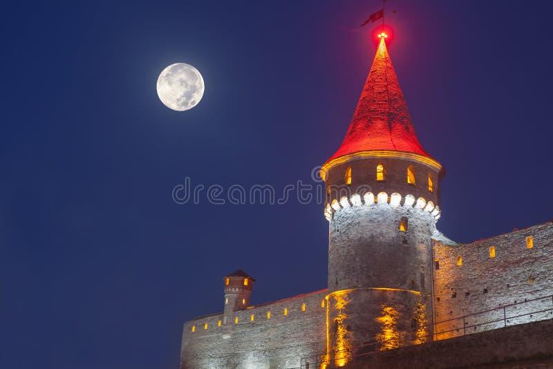 Kamianets Podilskyi na noite foto de stock