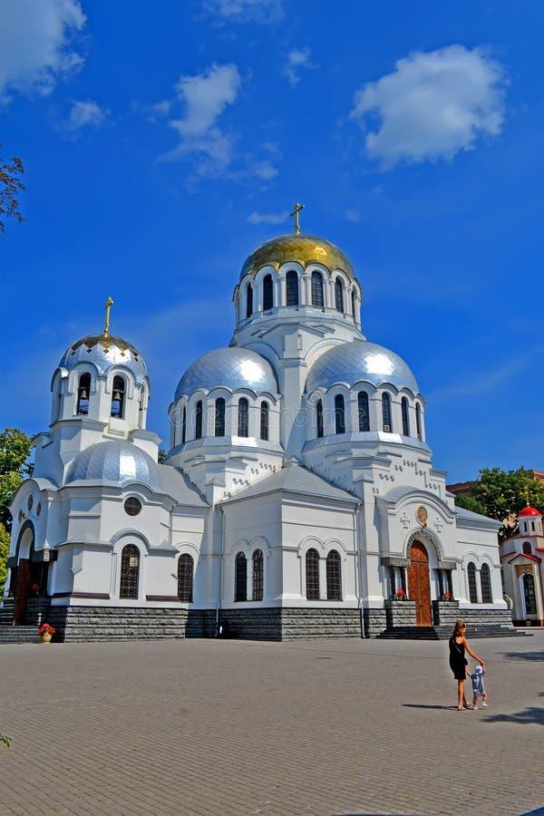 Alexander Nevski cathedral aka Cathedral of St. Prince Alexander Nevsky, Kamyanets-Podilski, Ukraine. KAMIANETS-PODILSKYI, UKRAINE - AUG 25, 2019: Alexander stock photos
