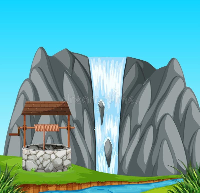Kamień dobrze w naturze ilustracja wektor