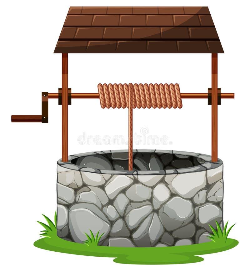 Kamień dobrze z dachem ilustracja wektor