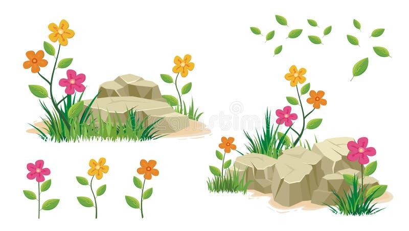 Kamień i skała z kwiatem royalty ilustracja