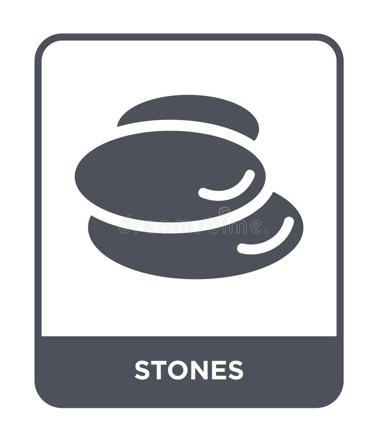 kamień ikona w modnym projekta stylu dryluje ikonę odizolowywającą na białym tle kamień wektorowej ikony prosty i nowożytny płask royalty ilustracja