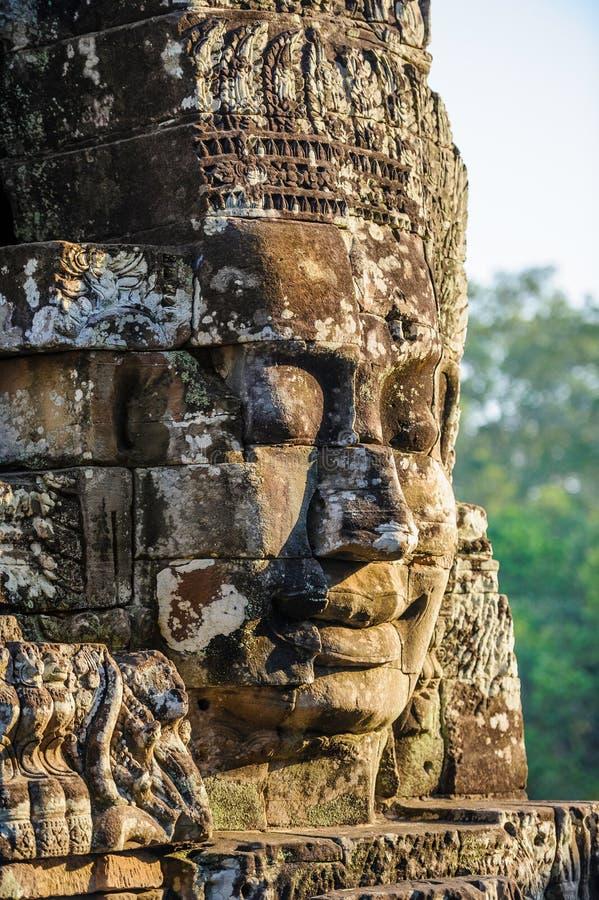Kamień stawia czoło przy bayon świątynią w siem przeprowadza żniwa, Cambodia 11 fotografia stock
