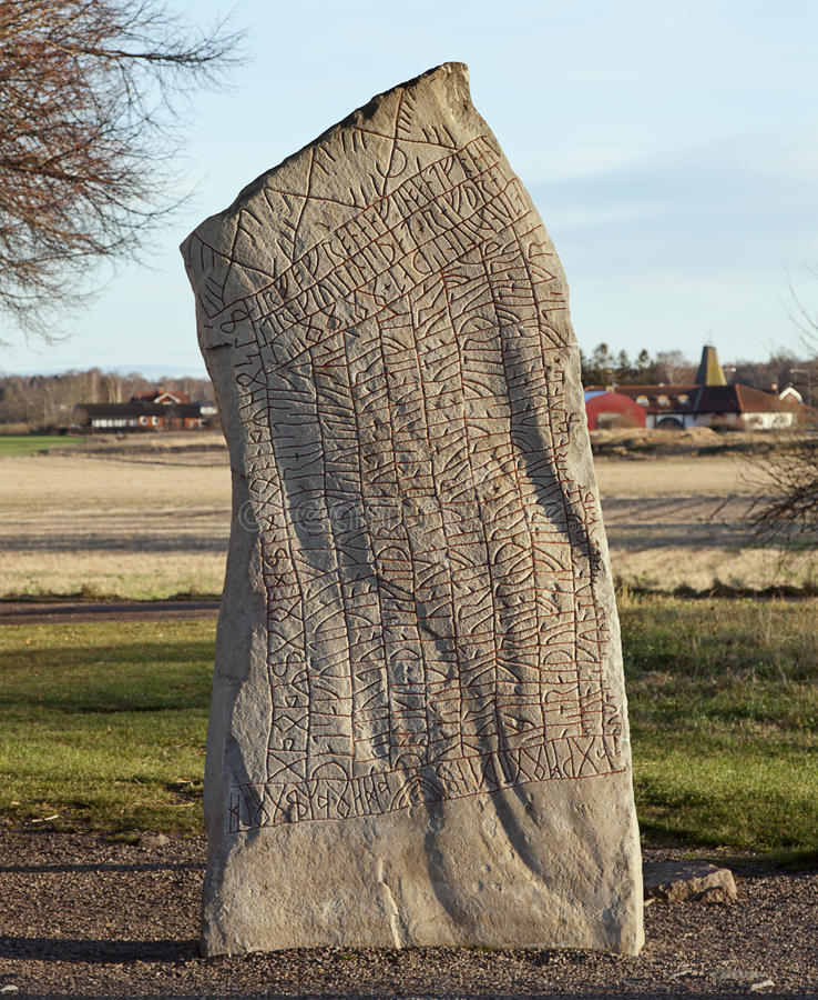 Kamień zakrywający w runes od 9th wieka obraz royalty free