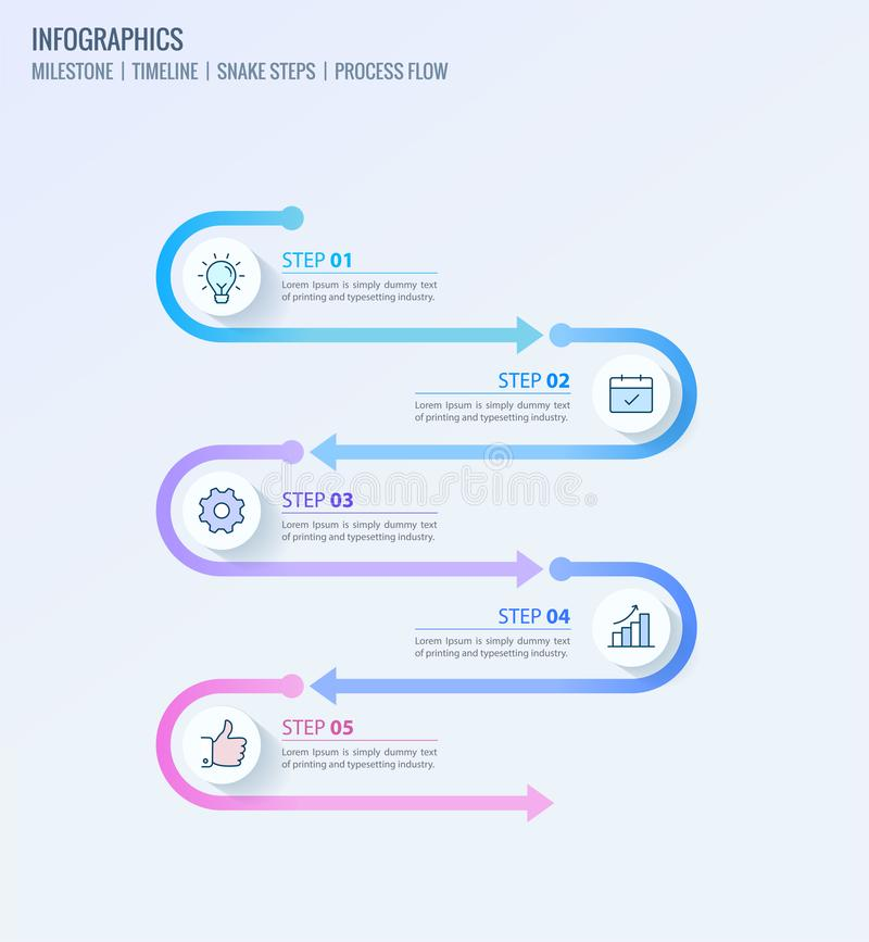 Kamienia milowego infographics, linia czasu infographics, Proces przepływ infographic ilustracji