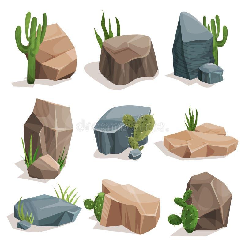 Kamienie i natura kołysają set z zielonej trawy i kaktusa setem, krajobrazu projekta elementów wektoru ilustracje royalty ilustracja