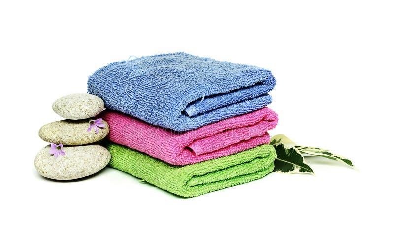 kamienie trzy ręcznika zdjęcie royalty free