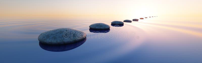 Kamienie w spokojnym morzu przy zmierzchem royalty ilustracja