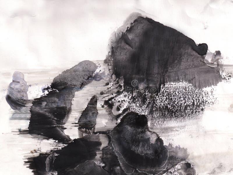 Kamienie w wodzie ilustracja wektor