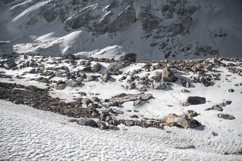 Kamienie w wysokich śnieżnych skalistych górach fotografia stock