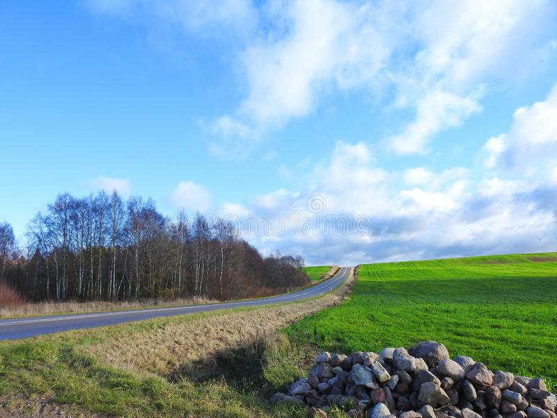 Kamienie, zieleni pole, sposób i chmurny niebo, Lithuania obrazy royalty free