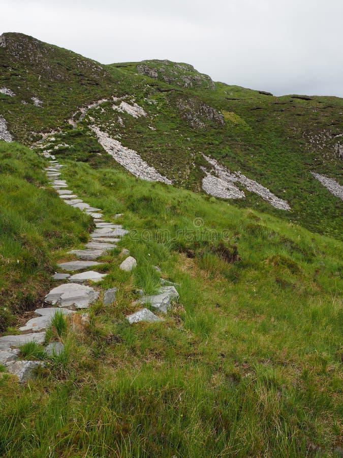 Kamienna ścieżka prowadzi w górę Diamentowego wzgórza w Irlandia zdjęcia royalty free