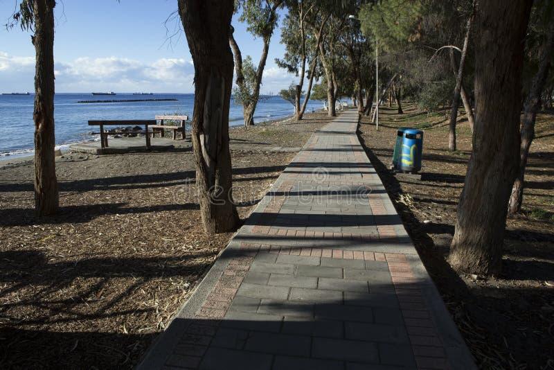 Kamienna ścieżka wzdłuż pustej plaży zdjęcia royalty free