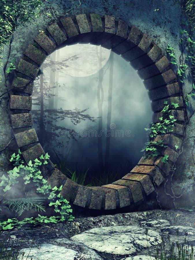 Kamienna brama w gothic ogródzie ilustracji