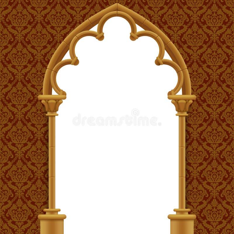 Kamienna gothic brama z klasycznym dekoracyjnym tłem royalty ilustracja