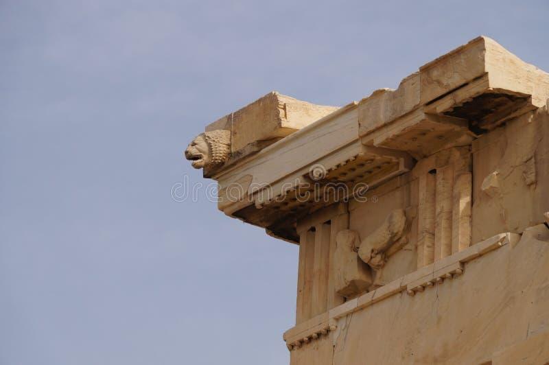 Kamienna lew głowa przy Erechteion, akropol, Ateny, Grecja obraz stock