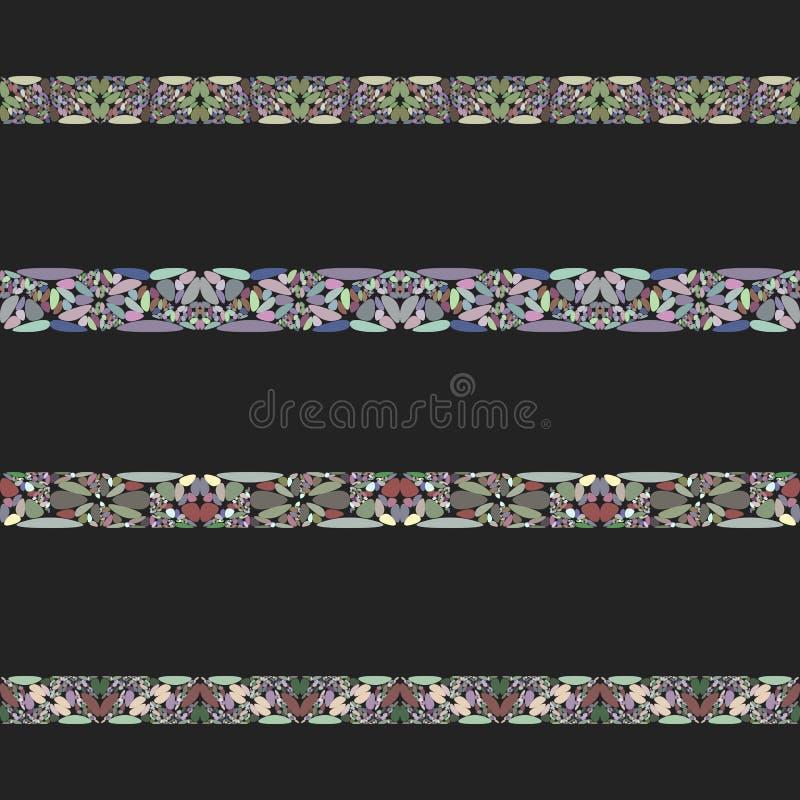 Kamienna mozaiki divider linia ustawia - wektorowych projektów elementy ilustracji