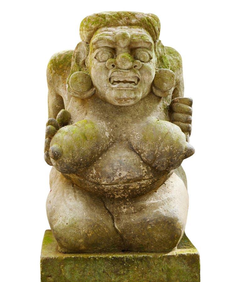 Kamienna naga kobieta z dużymi piersiami od Bali wyspy odizolowywającej dalej obrazy royalty free