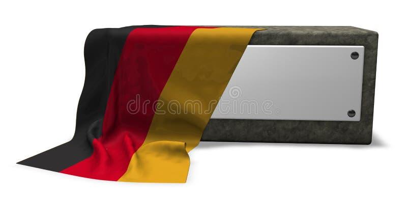 Kamienna nasadka z puste miejsce znakiem i flaga Germany ilustracji