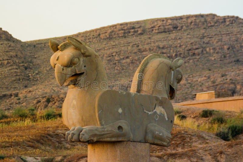 Kamienna postać ptak zdobycz w antycznym kapitale Persia miasto Persepolis zdjęcia royalty free