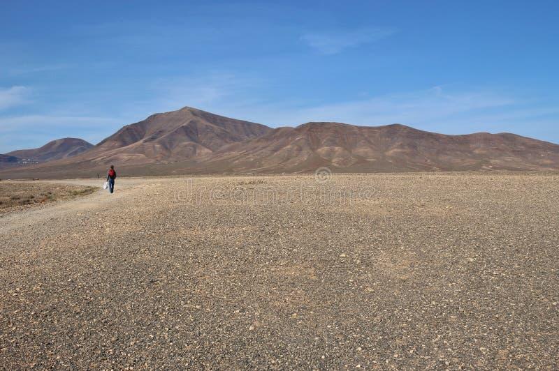 Kamienna pustynia Pico Redondo na Lanzarote i wulkan obraz royalty free