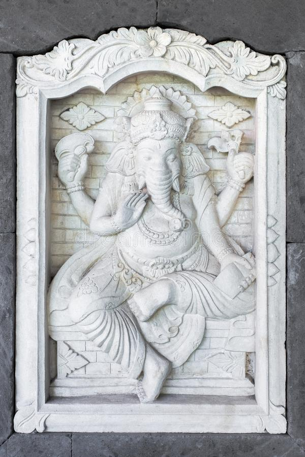 Kamienna rzeźba Ganesha na dom ścianie w Bali obrazy stock