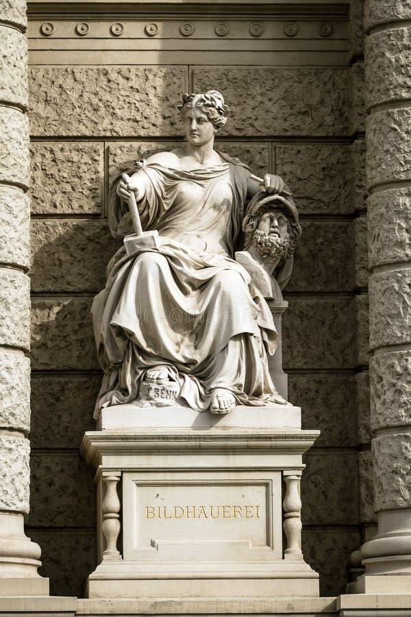 Kamienna rzeźba kobieta w centrum Wiedeń, Austria zdjęcie stock