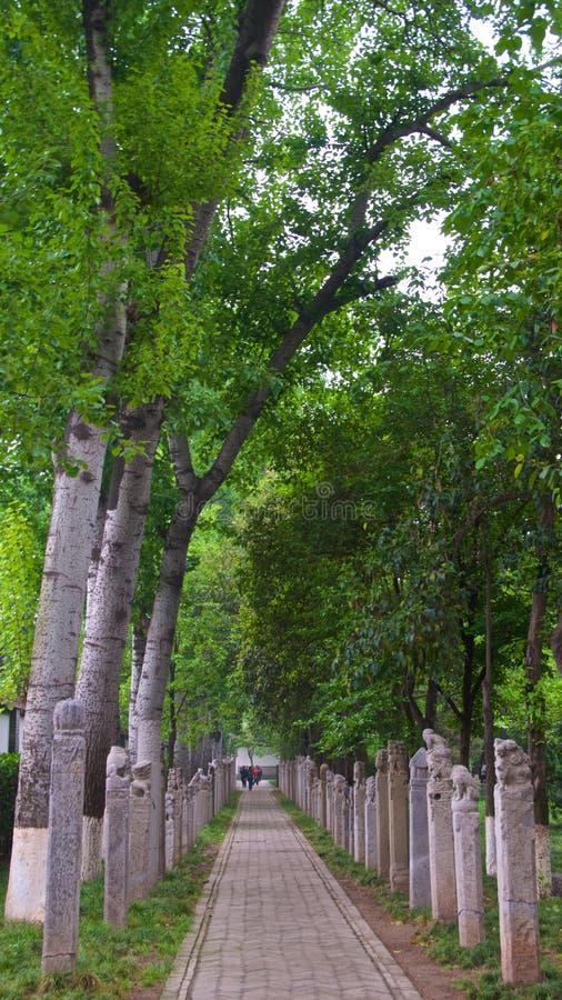 Kamienna rzeźba uczepia się poczty na stronie ścieżka w Małej Dzikiej Gęsiej pagodzie w Xian, Chiny fotografia royalty free