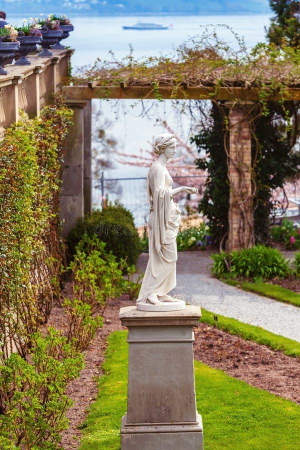 Kamienna rzeźba w ogródzie różanym fotografia stock