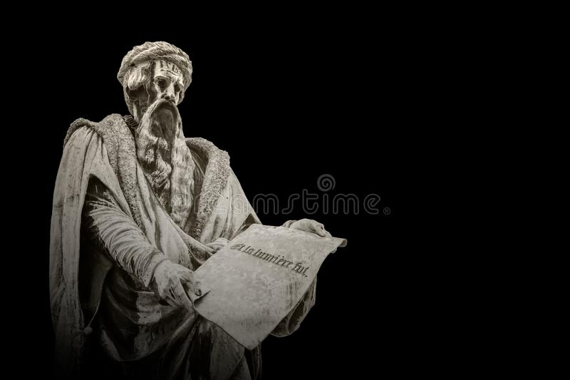 Kamienna statua Johannes Gutenberg obrazy stock