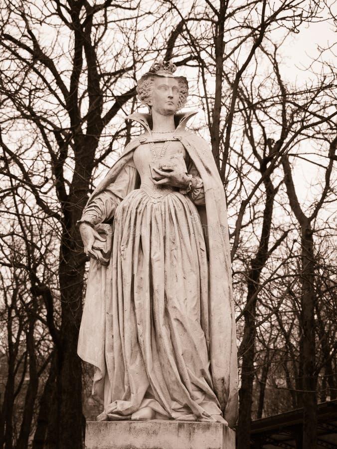 Kamienna statua reprezentuje Maria De Médicis w Luksemburg dziąsłach zdjęcie stock