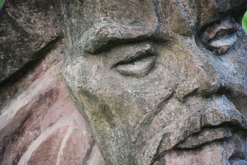 Kamienna statua stara man's twarz obraz royalty free