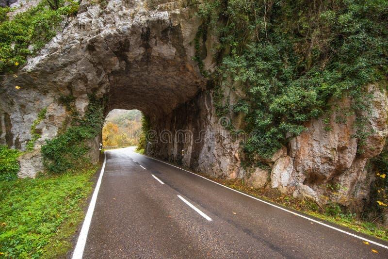 Kamienna tunelowa droga w halny scenary w Somiedo naturalnym parku, Asturias, Hiszpania obrazy royalty free
