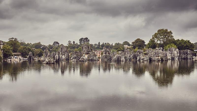 Kamienne Lasowe wapień formacje odbijali w Shilin jeziorze obrazy stock