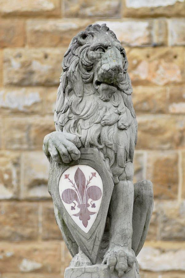 Kamiennego lwa mienia miasta główny symbol przy piazza della Signoria w Florencja, Włochy zdjęcia stock