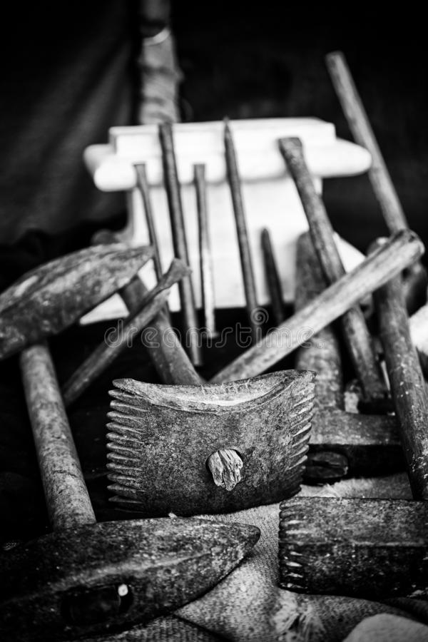 Kamienni cyzelowań narzędzia obrazy royalty free