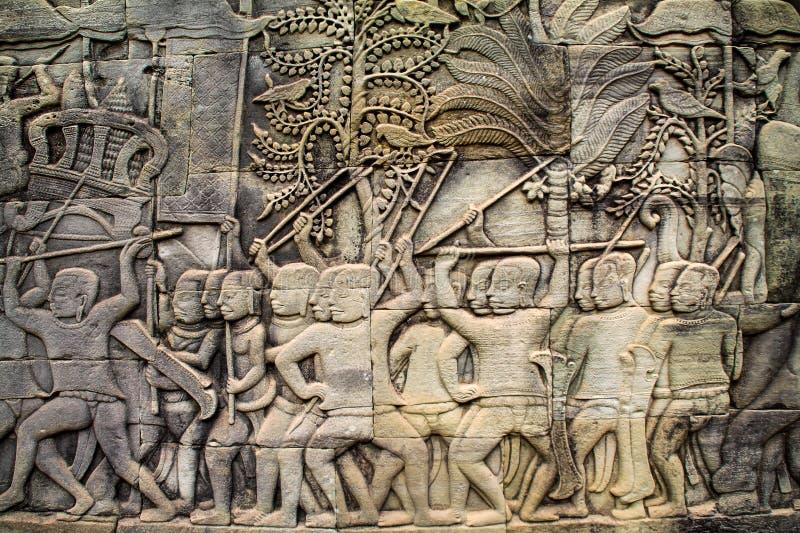 Kamienni cyzelowania na Angkor Wat, Siem Przeprowadzają żniwa, Kambodża fotografia stock