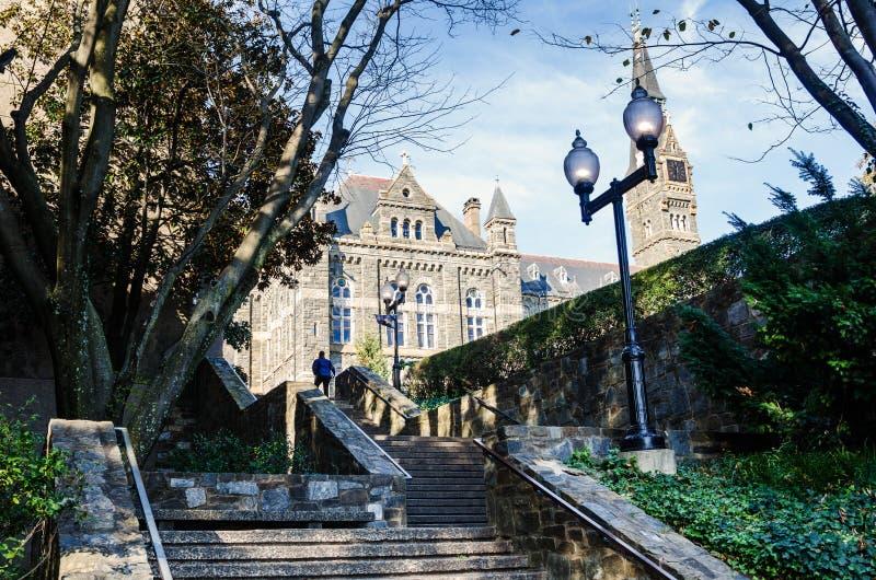 Kamienni loty kroki w Miastowym położeniu na Pogodnym ranku zdjęcia royalty free