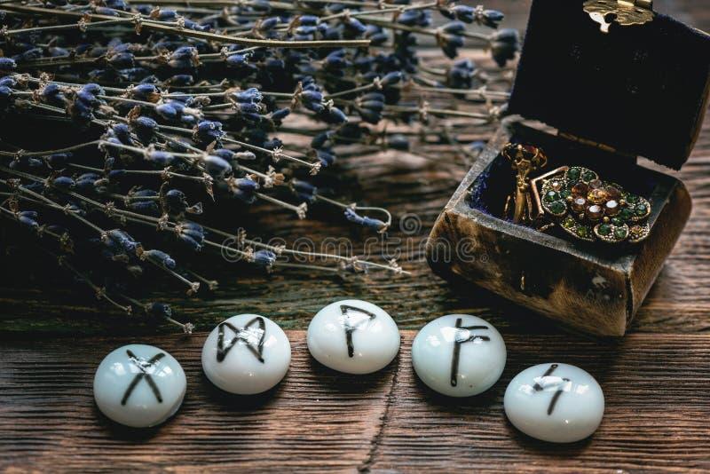 Kamienni runes Futune czytelniczy poj?cie obrazy stock