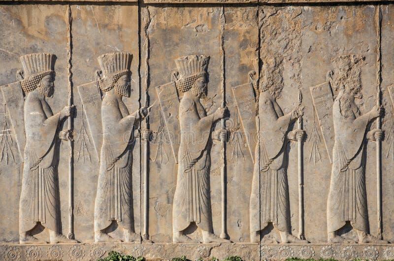 Kamienny barelief w antycznym mieście Persepolis, Iran obrazy royalty free