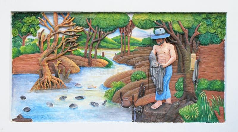 Kamienny cyzelowanie i obraz Tradycyjna Tajlandzka kultura obrazy royalty free