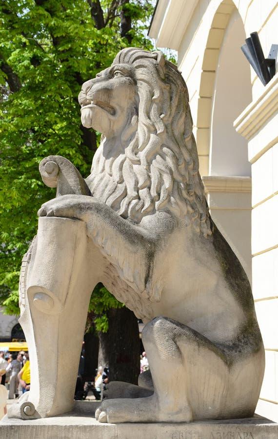 Kamienny cyzelowanie lew obraz royalty free