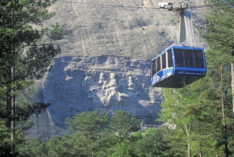 Kamienny góra parka pomnik i tramwaj, Atlanta, Gruzja zdjęcia stock