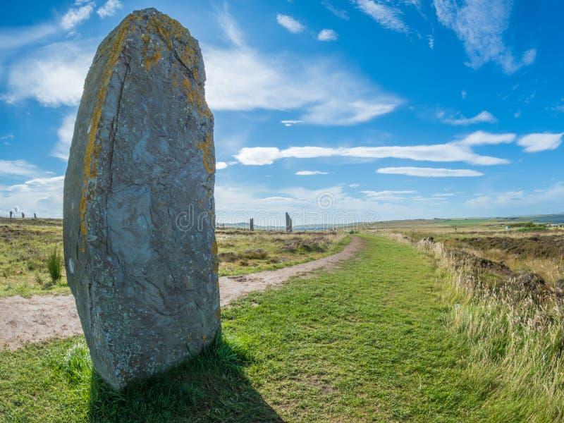 Kamienny henge przy pierścionkiem Brodgar, Orkney, Szkocja neolityczny fotografia stock