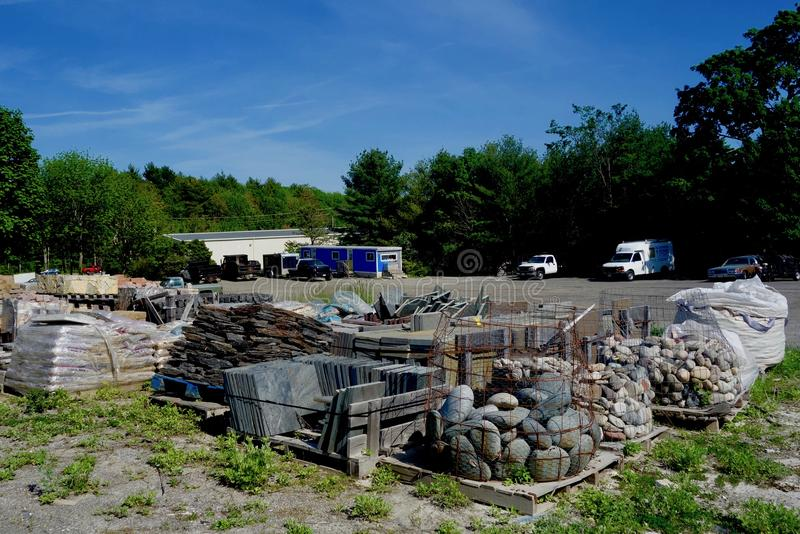 Kamienny jard w Maine, usa, kamieniarzów budowniczowie fechtuje się kontrahentów obraz royalty free