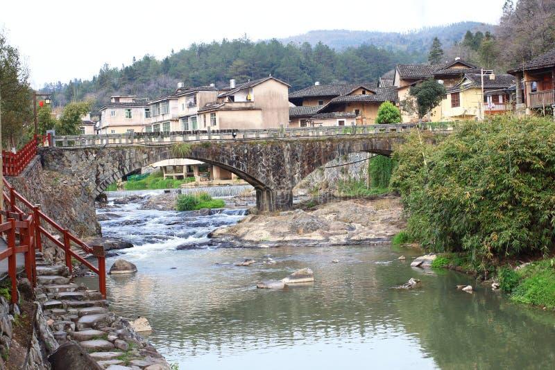 Kamienny most Fujian earthen struktury fotografia royalty free