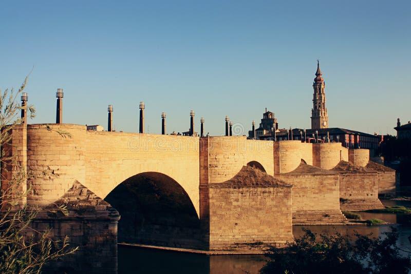 Kamienny most Zaragoza, Hiszpania obrazy stock