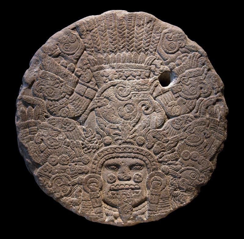 Kamienny ołtarzowy dysk Tlaltecuhtli obrazy stock