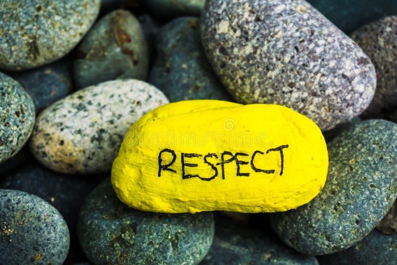 Kamienny obraz - szacunek pisać na nim zdjęcie stock