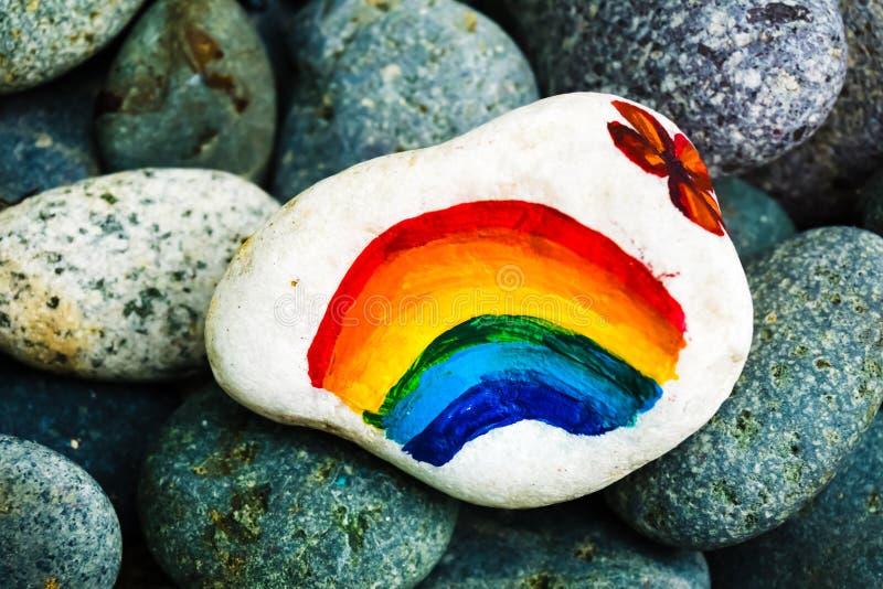 Kamienny obraz - tęcza kolory fotografia royalty free